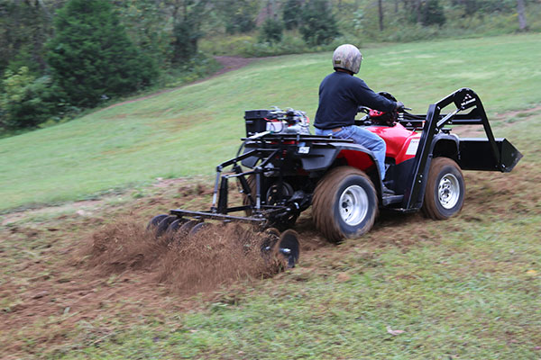 Hydraulic Powered Disc / Harrow ATV Attachment In Action